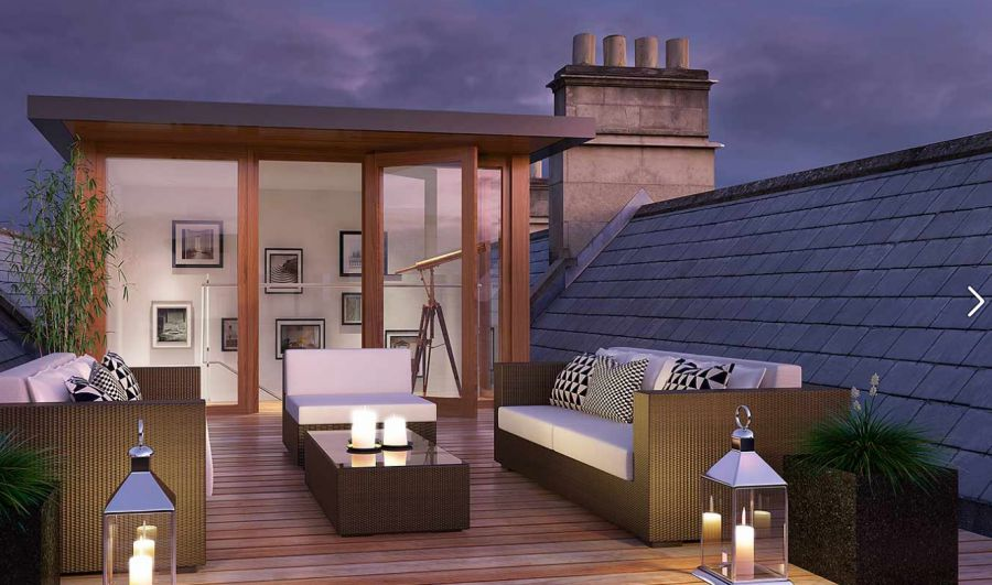 The roof terrace of a house in Bath